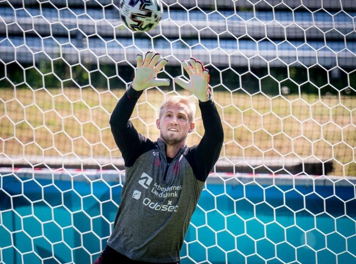 """""""Olemme pelanneet jo pitkään tasaisesti ja hyvin"""", Kasper Schmeichel kehuu Tanskan maajoukkuetta.  LEHTIKUVA / AFP"""
