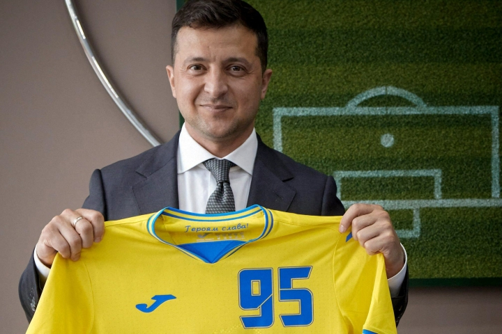 Euroopan jalkapalloliitto Uefa vaatii Ukrainaa poistamaan poliittiset viestit miesten EM-lopputurnauksen pelipaidastaan. LEHTIKUVA/AFP