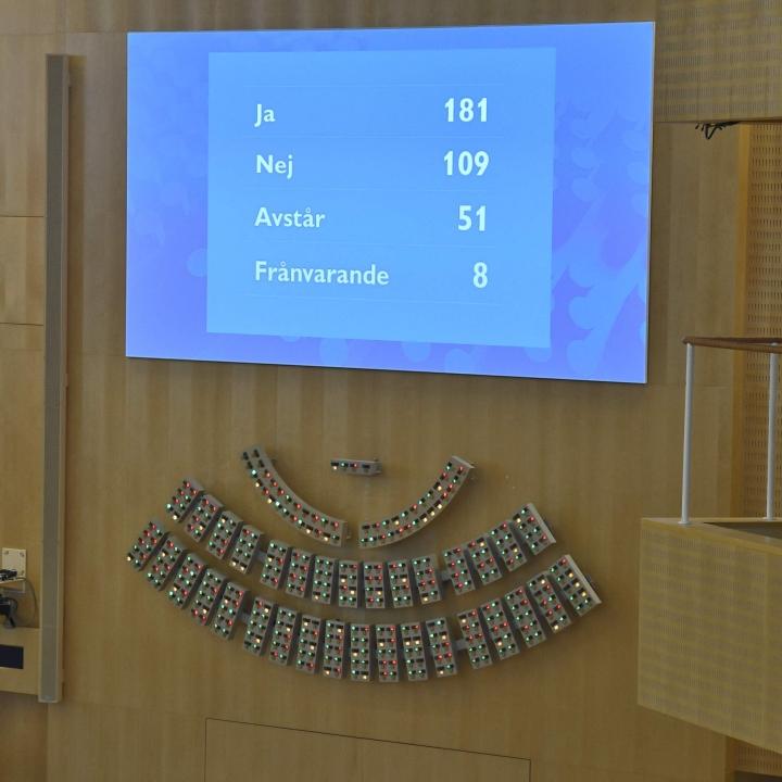 Ruotsin sosiaalidemokraattien ja ympäristöpuolueen vähemmistöhallitus kaatui maanantaina epäluottamusäänestyksessä. Lehtikuva/AFP
