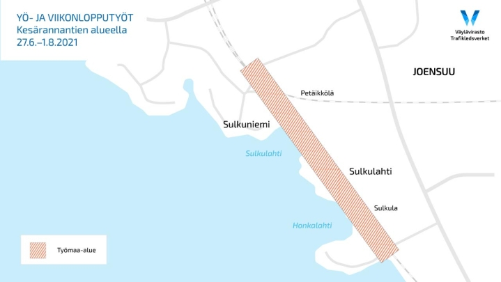 Työmaa-alue Kesärannantien alueella.