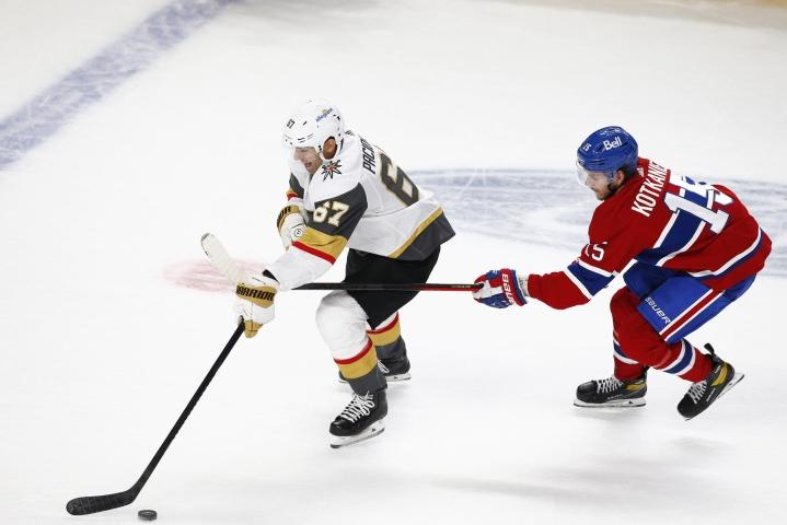 Ottelussa Montrealin suomalaiskolmikosta Jesperi Kotkaniemi sai syöttöpisteen. LEHTIKUVA / AFP