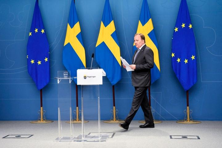 Pääministeri Stefan Löfvenin punavihreä vähemmistöhallitus menetti viikko sitten valtiopäivien luottamuksen. LEHTIKUVA / AFP