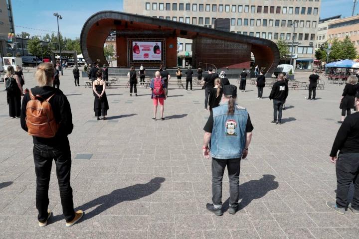Kulttuuri- ja tapahtuma-alan puolesta osoitettiin mieltä kesäkuun alussa Joensuussa.