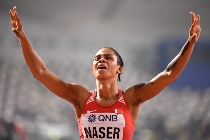 Bahrainin Salwa Eid Naser voitti Qatarin Dohassa vuonna 2019 MM-kultaa. Lehtikuva/AFP