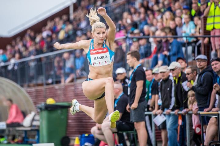Kristiina Mäkelä vuonna 2018 yleisurheilun GP-kisoissa Joensuussa.