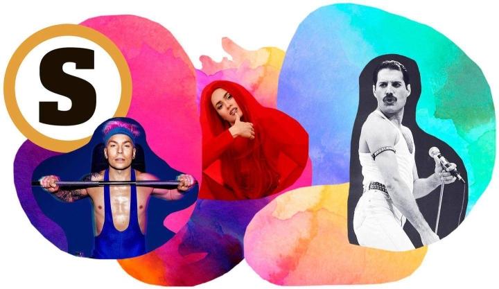 Antti Tuisku (vas.), Sanni ja Freddie Mercury tanssittavat sateenkaariväkeä.