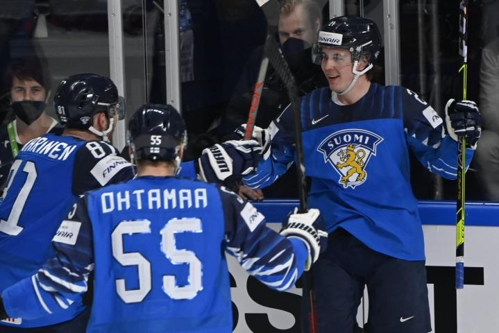 Jere Innala teki Suomen 1 -0-maalin Tshekkiä vastaan MM-puolivälierässä. LEHTIKUVA / Jussi Nukari