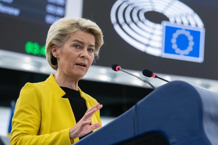 """Von der Leyen sanoi EU-parlamentin istunnossa komission käyttävän """"valtuuksiaan, jotka sillä on perussopimusten valvojana"""", jos Unkari ei korjaa tilannetta. LEHTIKUVA/AFP"""