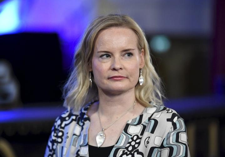 Perussuomalaisten varapuheenjohtaja Riikka Purra pitää tänään tiedotustilaisuuden koskien perussuomalaisten Seinäjoen puoluekokouksen ehdokkuuksia. LEHTIKUVA / Jussi Nukari