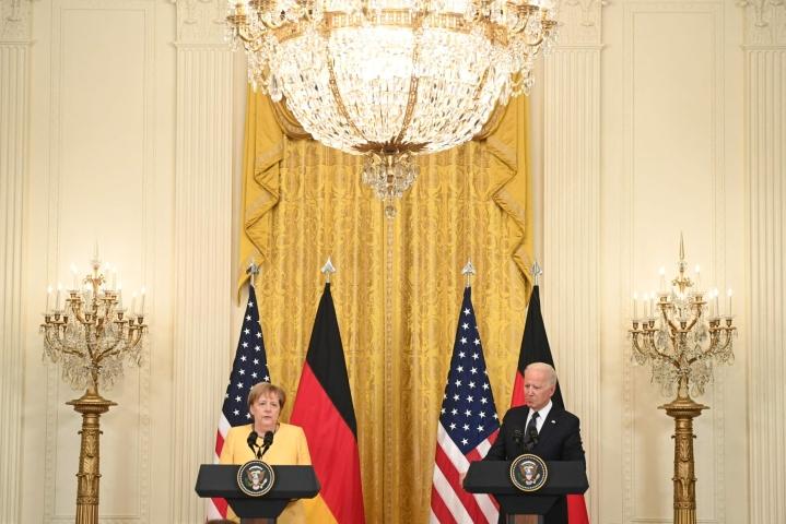 Merkel ja Biden tapasivat torstaina Washingtonissa. LEHTIKUVA/AFP
