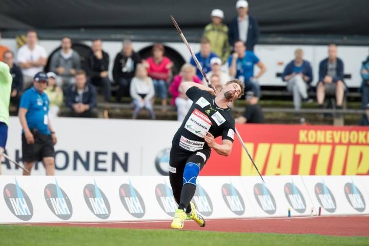 Antti Ruuskanen Joensuussa kaksi vuotta sitten. Tuolloin kokenut arvokisamenestyjä edusti vielä Pielaveden Sampoa.