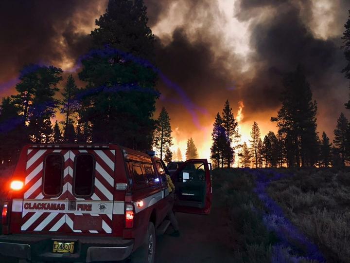 Lähellä Kalifornian rajaa Oregonissa on ollut tulessa yli 240 000 hehtaarin kokoinen alue. Kuva heinäkuun 15. päivältä. LEHTIKUVA/AFP