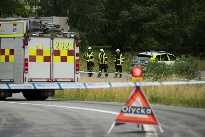 Onnettomuus tapahtui Hässleholmin eteläpuolella.  LEHTIKUVA/TT