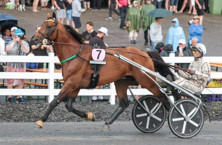 St Michel -ajon ylivoimaiseksi voittajaksi kruunattu Face Time Bourbon otti irtioton kilpailun loppukaarteessa. LEHTIKUVA / HANDOUT / IDA LAINE / HIPPOS