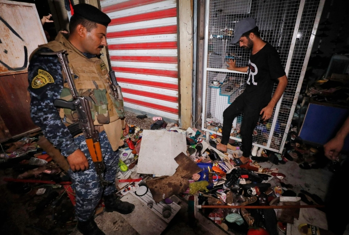 Tuhoisa räjähdys tapahtui maan pääkaupungissa Bagdadissa sijaitsevalla vilkkaalla torilla. LEHTIKUVA / AFP