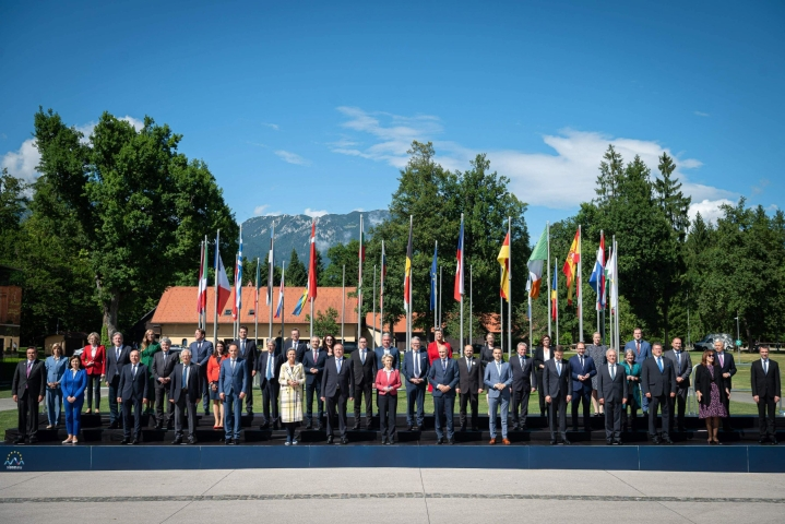 Euroopan komissio vieraili torstaina vuorten juurella Slovenian Brdossa puheenjohtajakauden alun kunniaksi. Lehtikuva/AFP