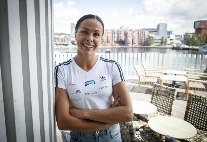 Seitsenottelija Maria Huntington Tampereella 8. heinäkuuta 2021. LEHTIKUVA / KALLE PARKKINEN