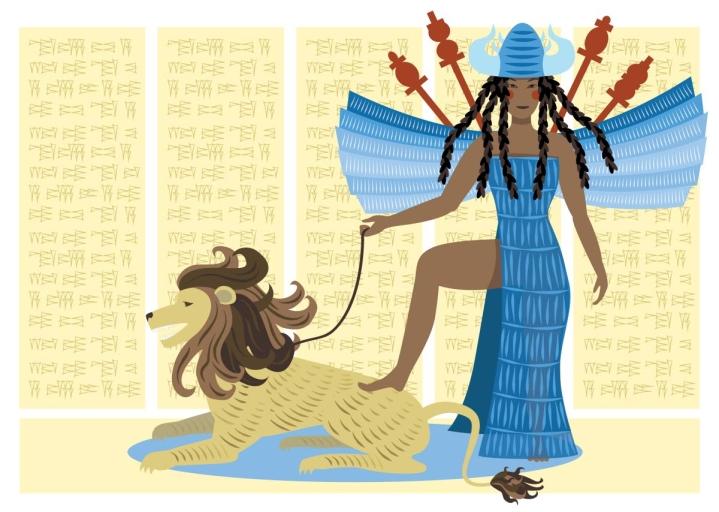 """""""Asetat voimasi muukalaisia vastaan / leijonan karjunta kuuluu taivaiden halki / maassa lyödään ruumiin kumoon."""" Enheduanna runoili näin Inanna-jumalattaresta. Sumerilaisen mytologian Inanna oli rakkauden ja hedelmällisyyden, mutta myös sodan jumalatar."""
