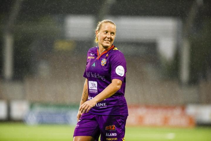 Anna Westerlund teki sekä Åland Unitedin tasoitus- että voittomaalin. LEHTIKUVA / SEPPO SAMULI