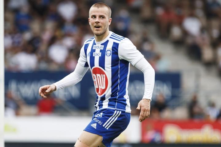 Roope Riski iski kaksi maalia vierasottelussa FK Buducnost Podgoricaa vastaan. LEHTIKUVA / Roni Rekomaa