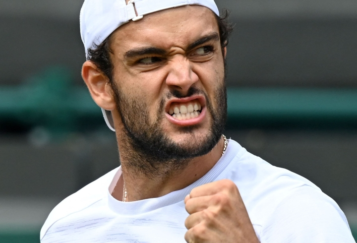 Berrettini on ensimmäinen italialaispelaaja, joka on yltänyt Wimbledonin kaksinpelin loppuotteluun. Lehtikuva/AFP