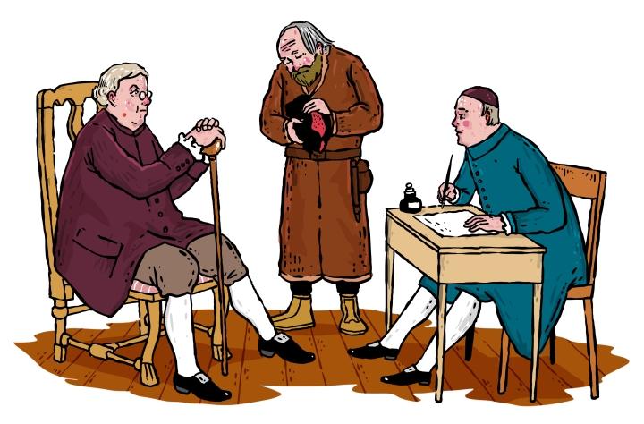Kihlakunnantuomarit jakoivat käräjillä oikeutta, ja kirjurit kirjasivat käsittelyn muistiin.