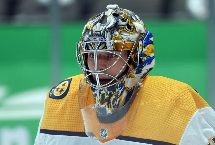 NHL-liigassa Nashville Predatorsia edustava Juuse Saros allekirjoitti maanantaina neljän vuoden jatkosopimuksen seuran kanssa. LEHTIKUVA/AFP