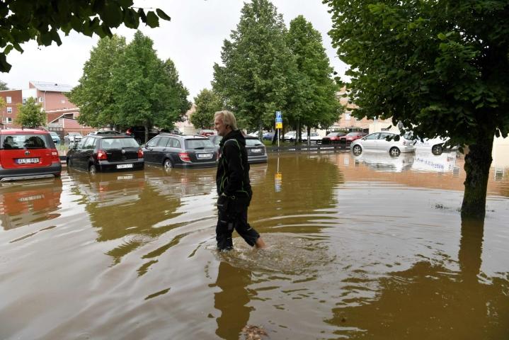 Gävlen seudulla satoi keskiviikkoaamun aikana 162 milliä vettä. LEHTIKUVA/AFP
