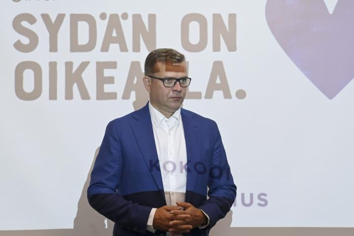 Kokoomuksen puheenjohtaja Petteri Orpo kertoi puolueen ehdotuksista Seinäjoella. LEHTIKUVA / JUSSI NUKARI