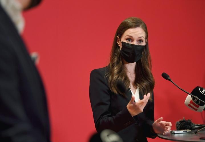 SDP:n puheenjohtaja, pääministeri Sanna Marin. LEHTIKUVA / ANTTI AIMO-KOIVISTO