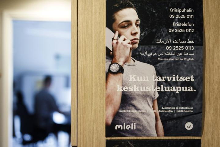 Heinäkuussa kriisipuhelimeen tuli keskimäärin 900 puhelua vuoorokaudessa. Yleisin kriisikeskustelun syy on ollut pandemian ajan paha olo. LEHTIKUVA / RONI REKOMAA