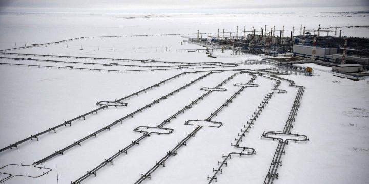 Kolmen kuukauden takainen kuva Jamalin niemimaan suurimmalta kaasukentältä Bovanenkovosta. Kenttä tuottaa kaasua noin 115 miljardia kuutiometriä vuodessa.
