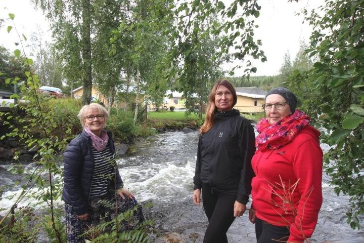 Eliisa Moilanen (vas.), Sari Turunen ja Sirpa Lassila pitävät tanssilavan sijaintia kahden kosken välissä ainutlaatuisena.