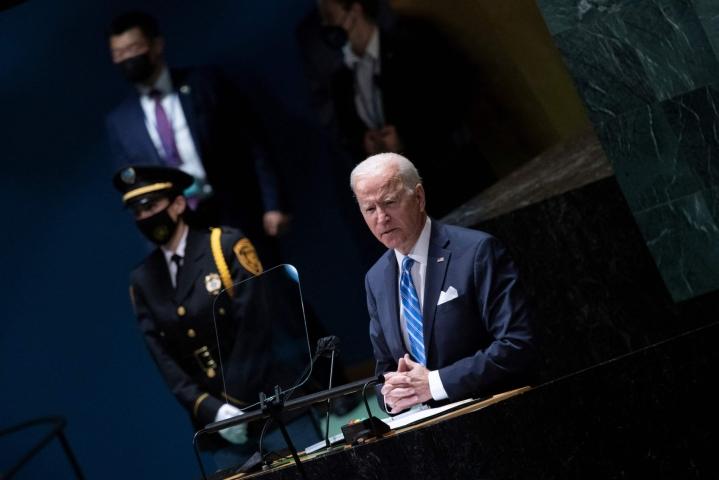 Biden sanoi myös, ettei Yhdysvallat halua uutta kylmää sotaa, jossa maailma olisi jakautunut jäykkiin blokkeihin. Tämä oli selvä viittaus Yhdysvaltain kiihtyvään vastakkainasetteluun Kiinan kanssa. LEHTIKUVA / AFP