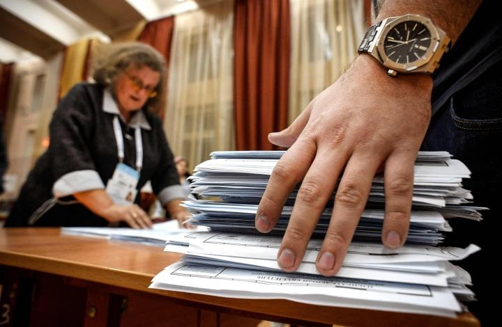 Sunnuntaina päättyneissä vaaleissa oli jaossa puolet duuman paikoista. LEHTIKUVA / AFP