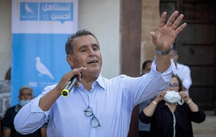 RNI-puoluetta johtaa miljardööri Aziz Akhannouch, jonka katsotaan olevan Marokon kuninkaan liittolainen. LEHTIKUVA/AFP