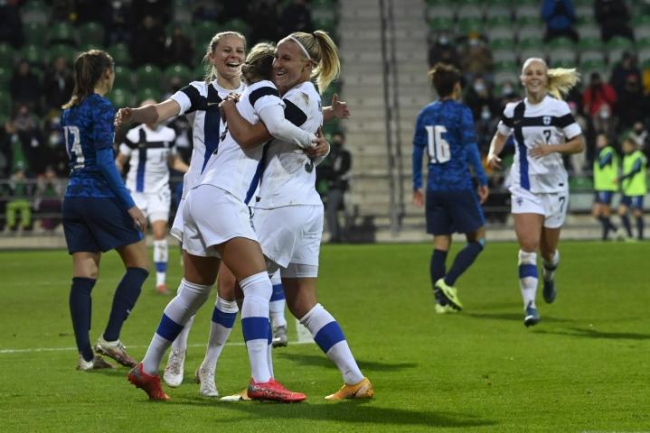 Suomi kohtaa seuraavassa MM-karsintapelissään Georgian vieraskentällä 21. lokakuuta. LEHTIKUVA / EMMI KORHONEN