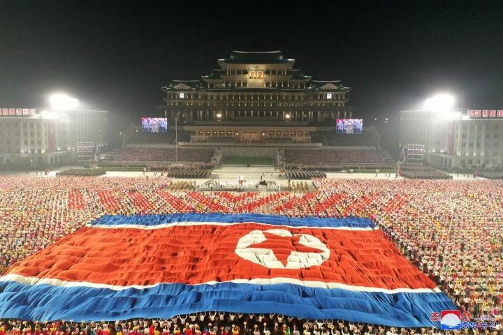 Torstaina oli Korean demokraattisen kansantasavallan perustamisen 73. vuosipäivä. LEHTIKUVA/AFP