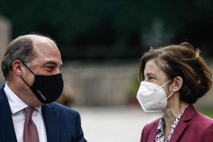 Britannian ja Ranskan puolustusministerit Ben Wallace ja Florence Parly heinäkuussa Pariisissa. LEHTIKUVA/AFP