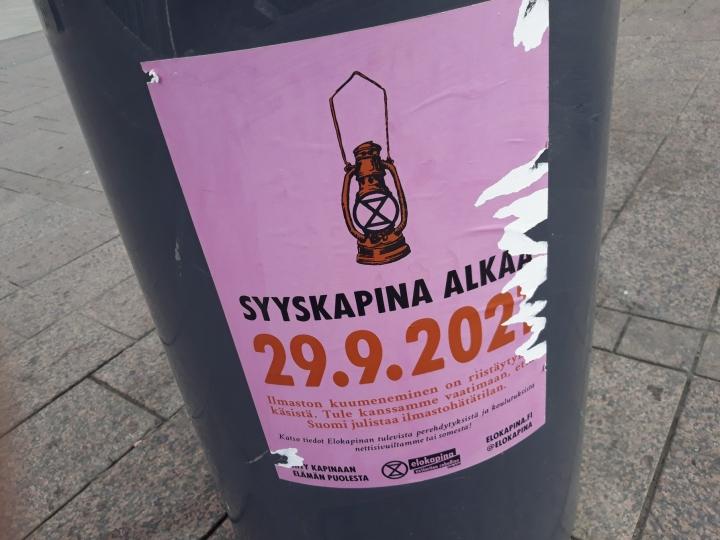 Syyskapinaksi nimetyn mielenosoituksen on määrä alkaa 29. syyskuuta ja päättyä 8. lokakuuta. Lehtikuva / Teemu Salonen