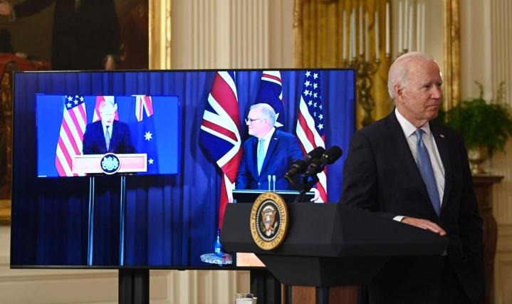 Yhdysvaltojen, Australian ja Britannian puolustusyhteistyö on suututtanut Ranskan. Lehtikuva/AFP