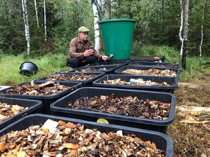 Watecon toimitusjohtaja Juha-Pekka Saarelainen ottamassa vesinäytteitä koealueella.