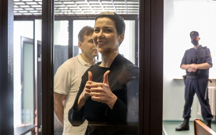 Maryja Kalesnikava on yksi Valko-Venäjän johtajan Aljaksandr Lukashenkan vastaisen oppositioliikkeen näkyvimmistä hahmoista. LEHTIKUVA/AFP
