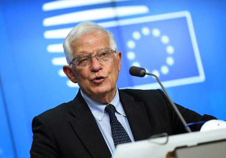 EU:n ulkoasioiden korkean edustajan Josep Borrellin johtamassa tapaamisessa keskustellaan paitsi Ranskan ja Australian välisestä hankauksesta, myös laajemmin Aukus-puolustusliittouman merkityksestä. LEHTIKUVA/AFP