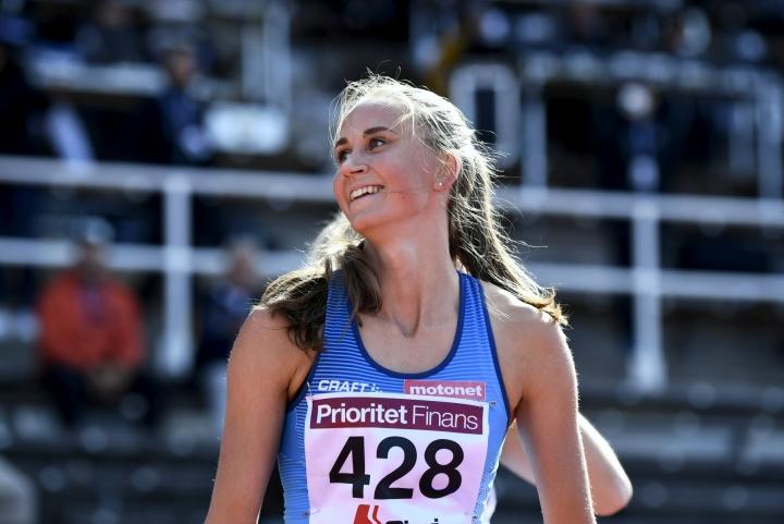 Viivi Lehikoinen juoksi 400 metrin aitojen voittoon ajalla 55,86. LEHTIKUVA / EMMI KORHONEN