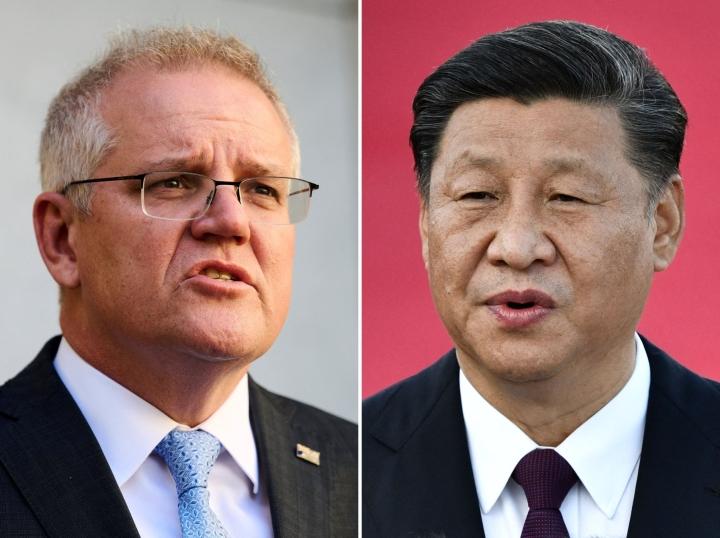 Australian pääministeri Scott Morrison ja Kiinan presidentti Xi Jinping. LEHTIKUVA/AFP