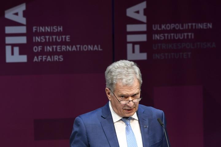 Presidentti puhui Ulkopoliittisen instituutin 60-vuotisjuhlatilaisuudessa Helsingissä. LEHTIKUVA / Markku Ulander