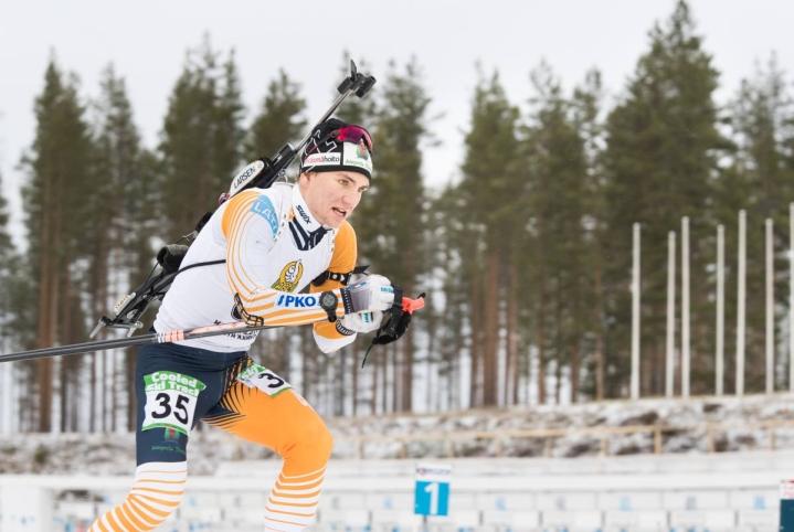 Joni Mustonen Kontiolahden ampumahiihtostadionilla gp-kisoissa. Arkistokuva.
