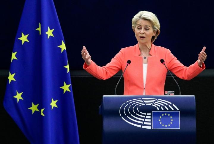 EU-komission puheenjohtaja Ursula von der Leyen pitää Union tila -puhettaan. LEHTIKUVA /AFP
