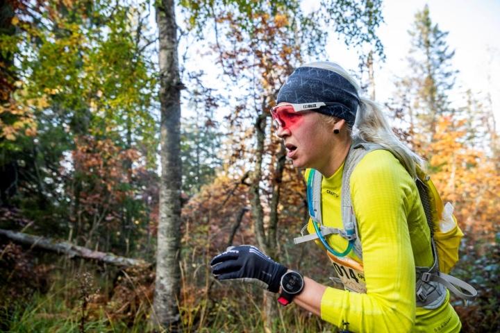 Kaisa Mäkäräinen viime lokakuussa Vaarojen maratonilla Kolilla.